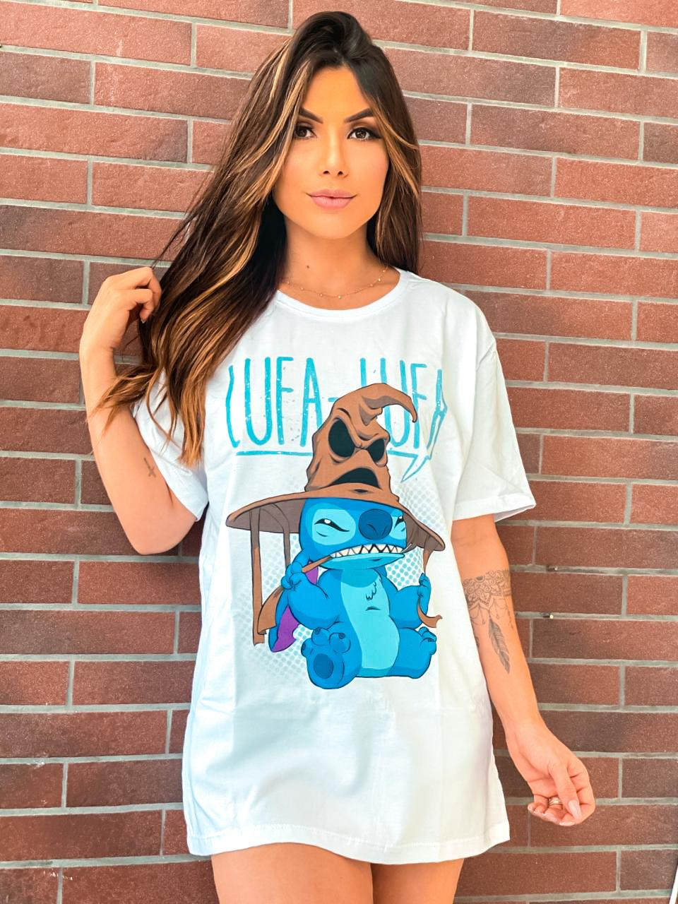 "Camiseta Unissex Stitch ""Lufa-Lufa"": Lilo & Stitch e Harry Potter"