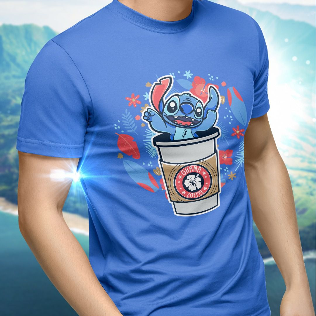 "Camiseta Unissex Stitch ""Ohana Coffee"""