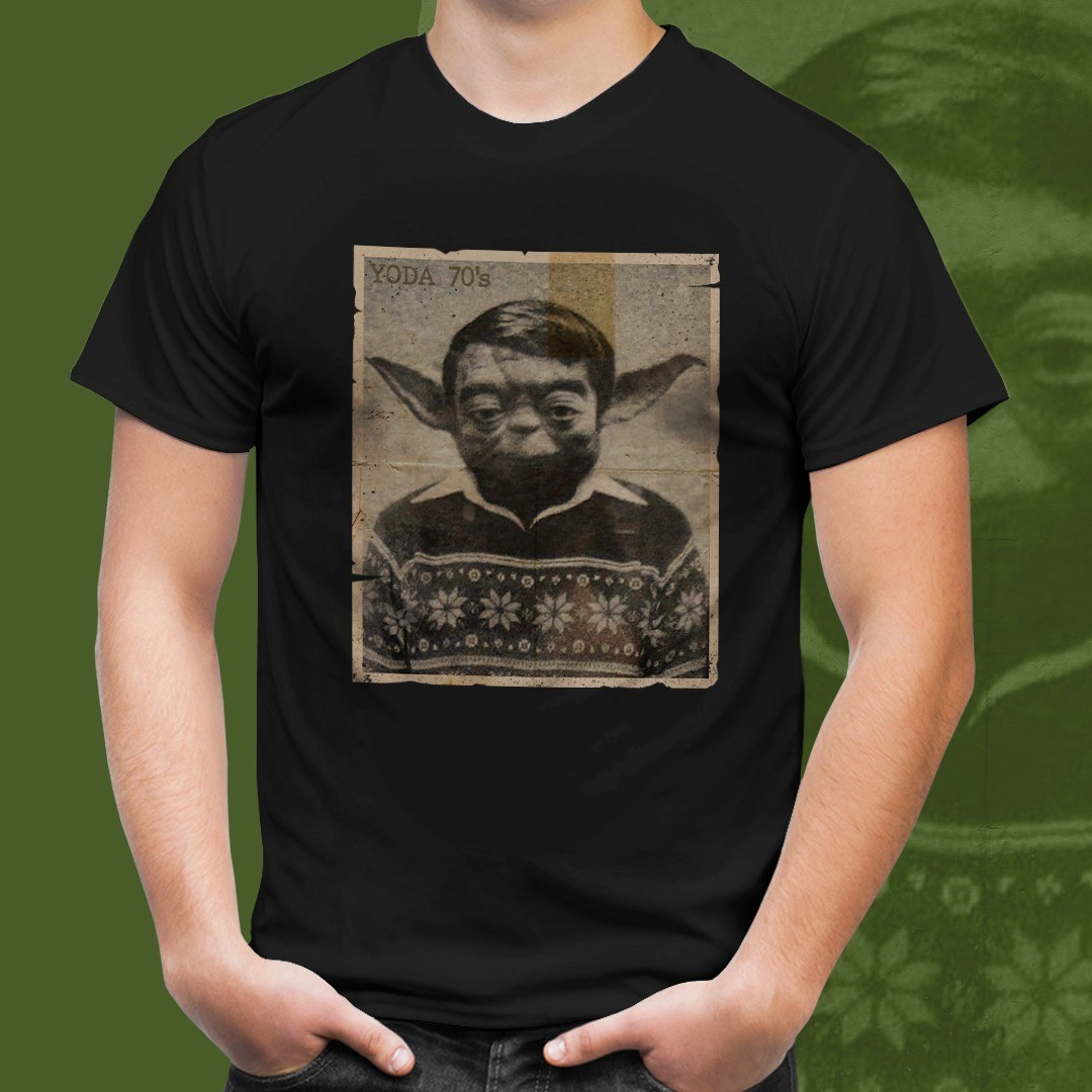 Camiseta Yoda (Anos 70): Star Wars (Preto)