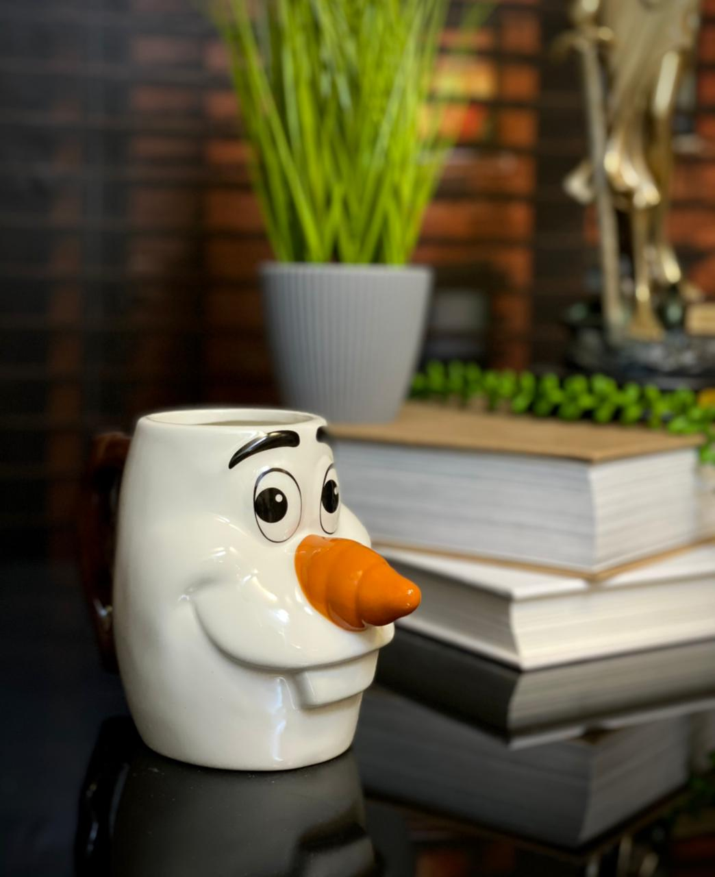 Caneca 3D de Rosto Olaf: Frozen - Disney (280ml)
