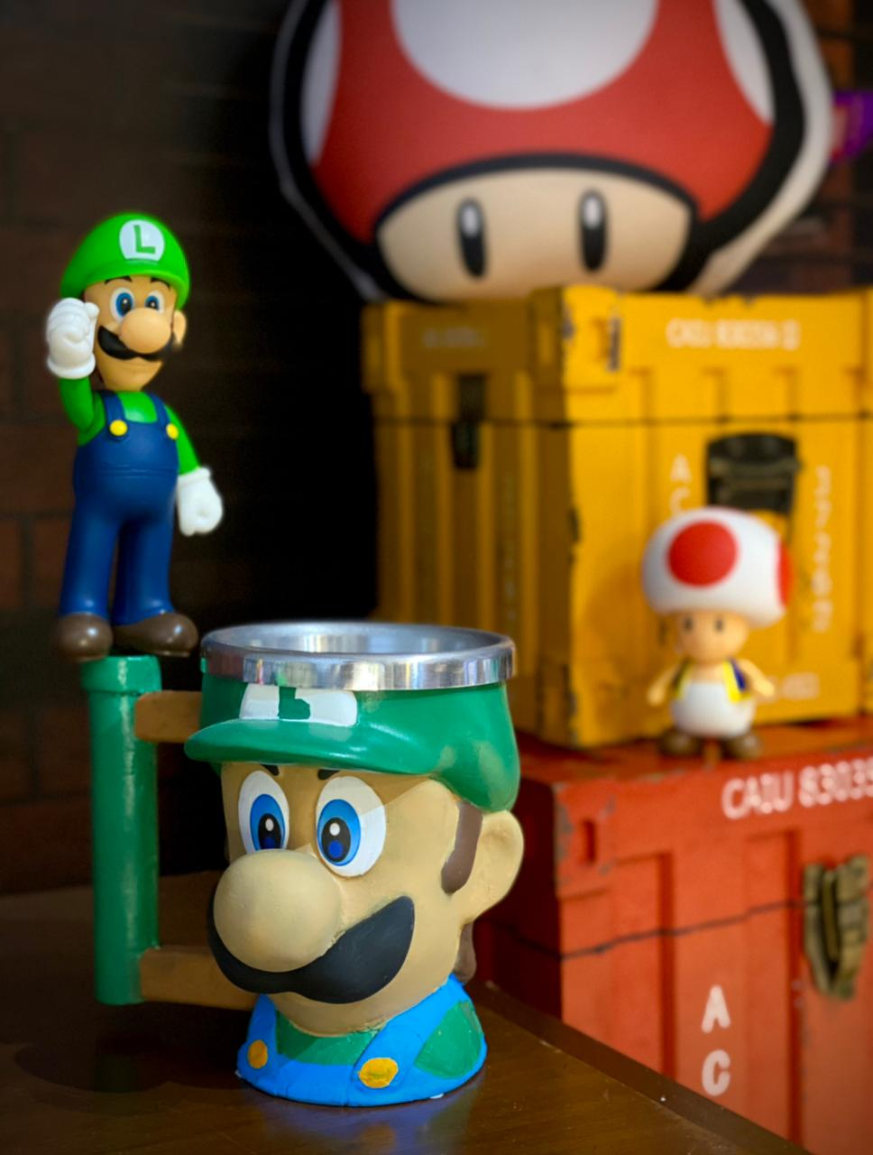 Caneca 3D Geek Luigi: Mario Bros.