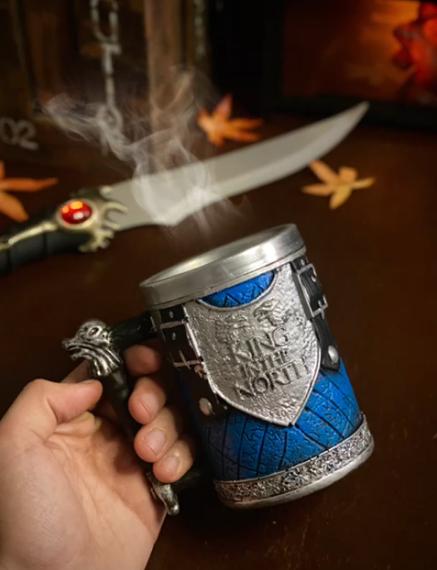 Caneca 3D Jon Snow O Rei do Norte The King In The North Guerra Dos Tronos Game Of Thrones