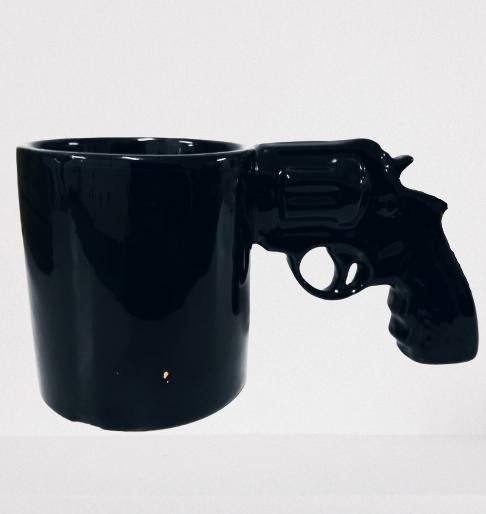 Caneca 3D Pistola (Arma 38) (Preto) (Pequenos Detalhes Na Cerâmica)