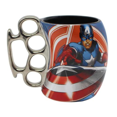 Caneca 3D Soco Inglês Capitão América Captain America: Vingadores Avengers Marvel Comics - Zona Criativa