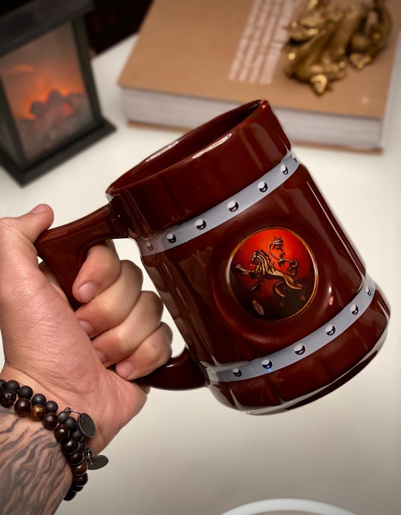 Caneca 3D Viking Cerveja Chopp Casa Lennister: Game of Thrones 700 ml