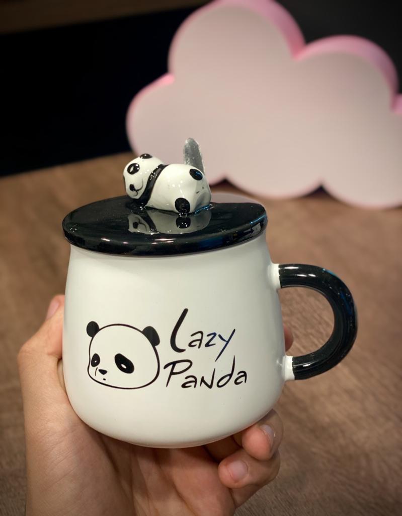 """Caneca/Açucareiro de Porcelana com Colher  """"Lazy Panda"""""""