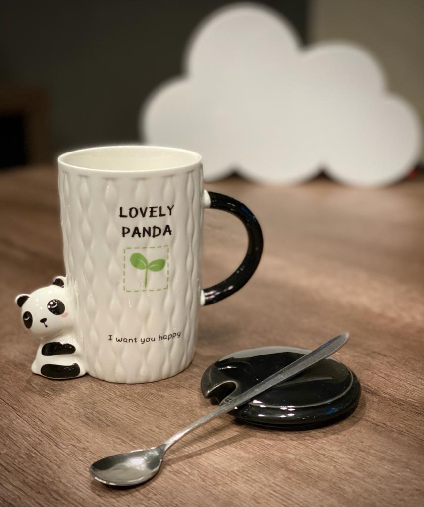 """Caneca/Açucareiro de Porcelana com Colher  """"Lovely Panda"""""""