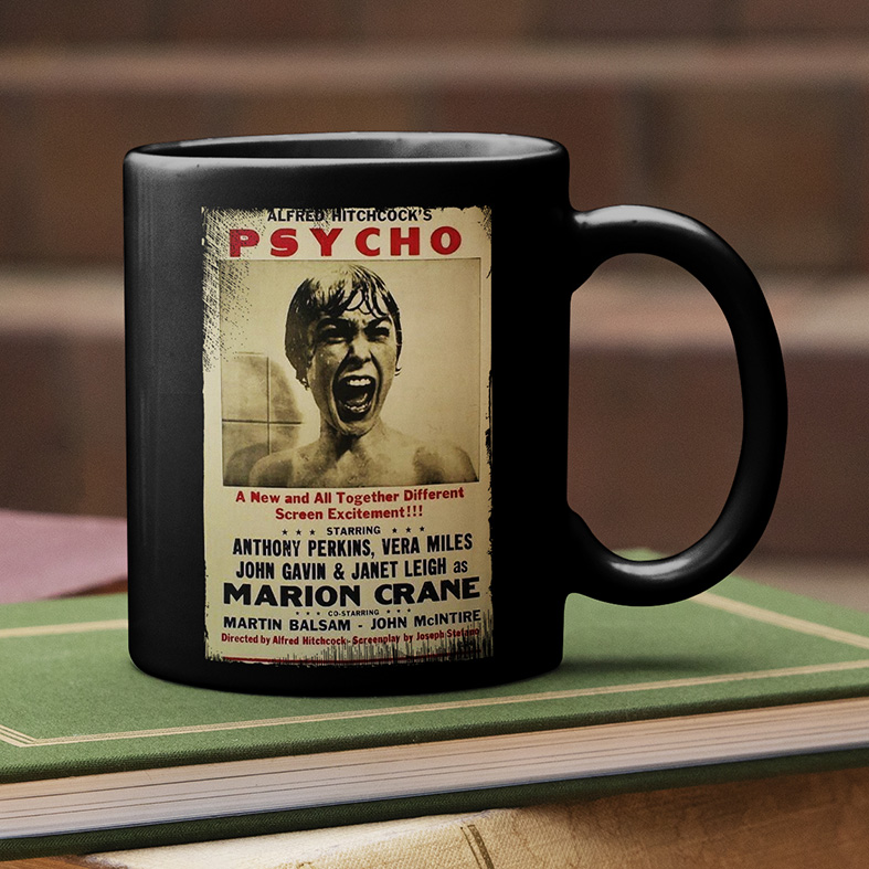 Caneca Alfred Hitchcock's Psycho Movie Poster Psicose (Preta) - EV