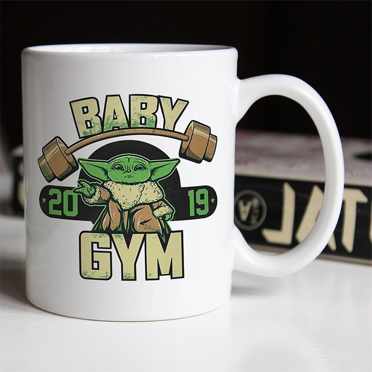 Caneca Baby Yoda GYM Fitness: Star Wars (Branca) - EV