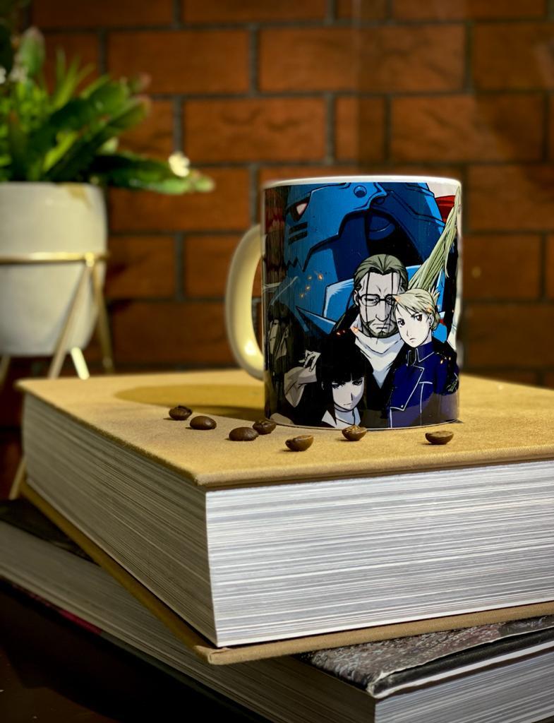 Caneca Branca Personagens Fullmetal Alchemist
