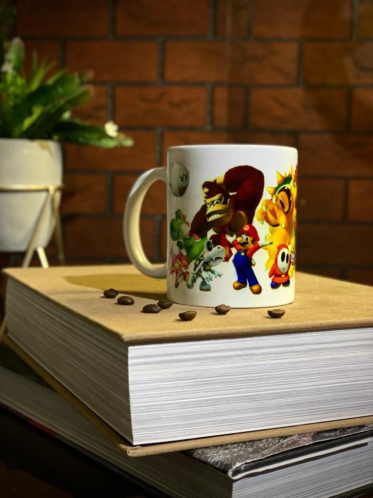 Caneca Branca Personagens Super Mario