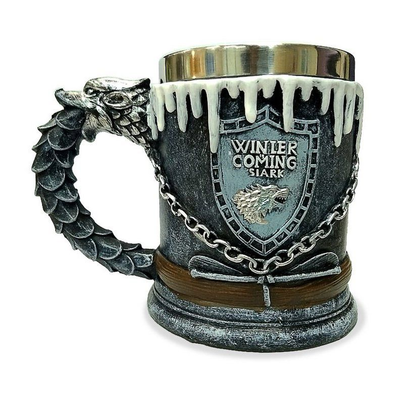 Caneca Casa Stark (Winter Is Coming): Game of Thrones (Cinza)