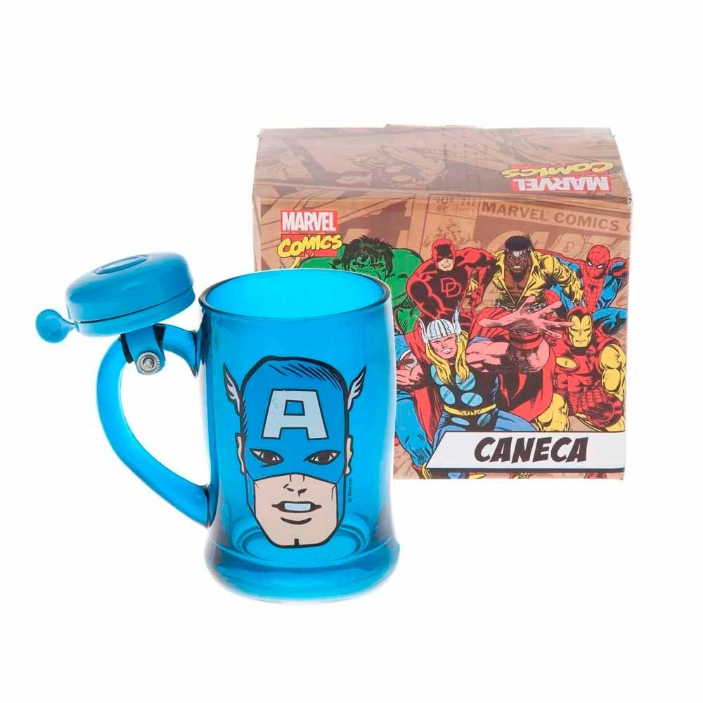 Caneca com Campainha Marvel Capitão América