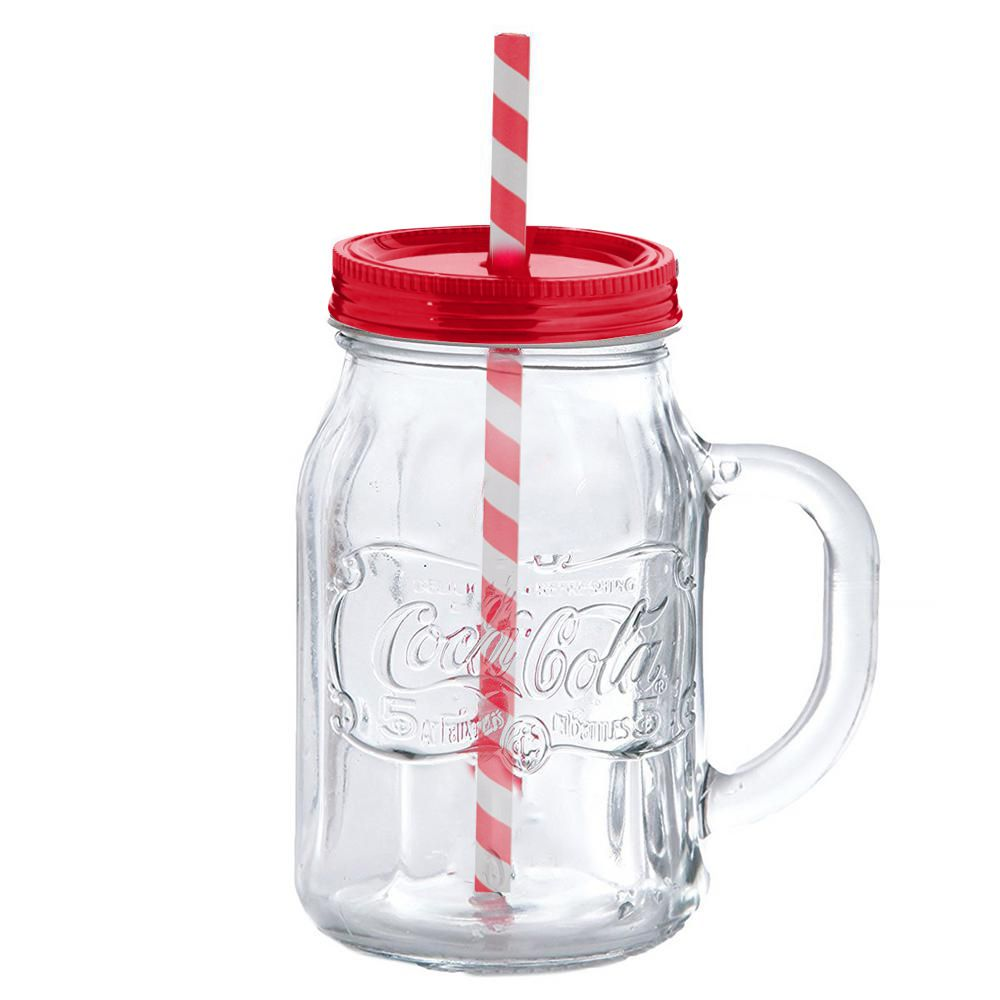 Caneca Com Canudo: Copo Retro Coca-Cola (450ml) Coca Cola