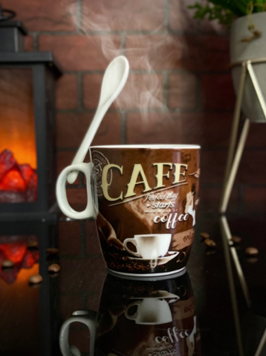 Caneca Com Colher Cafe Perfect Day Starts With A Cup Of Coffee - EV
