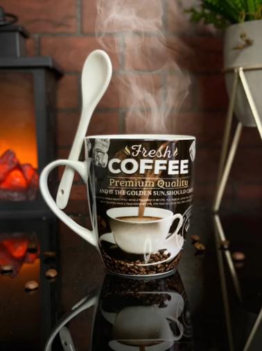 Caneca Com Colher Fresh Coffee Premium Quality - EV