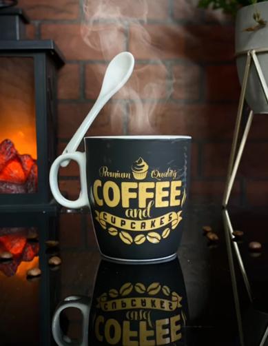 Caneca Com Colher Premium Quality Coffee And Cupcakes - EV