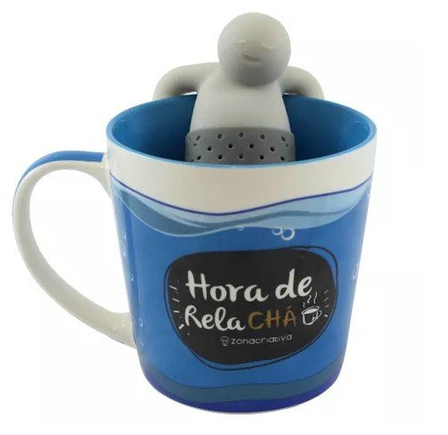 Caneca Com Infusor Para Chá: Hora De Relachá (350ML)