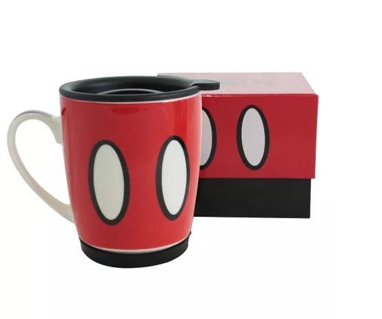 Caneca com Tampa Mickey Mouse Vermelho e Preto 350ml - Zonacriativa
