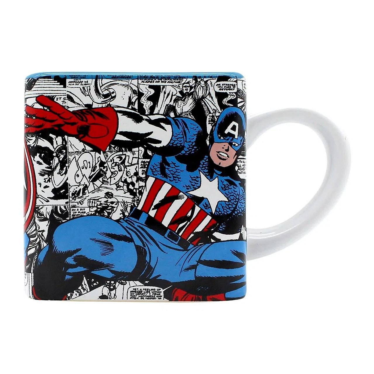 Caneca Cubo: Capitão América  Marvel -  Zona Criativa