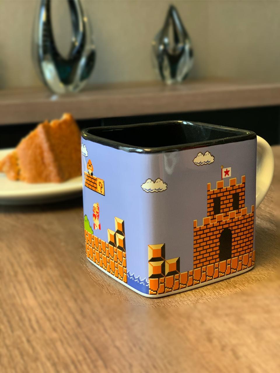 Caneca Cubo Mario Fases Pixels: Super Mario Bros - (300ml)