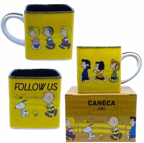 Caneca Cubo Snoopy Peanuts  Siga-nos Follow Us 300ml