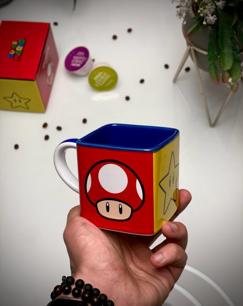 Caneca Cubo Super Mario Bros. Power Ups Itens 300ml