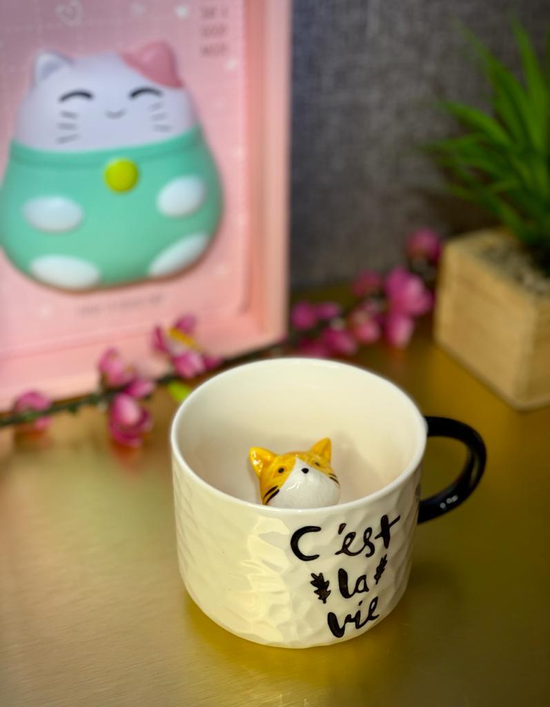 Caneca de Cerâmica Gatinho Amarelo - LXT