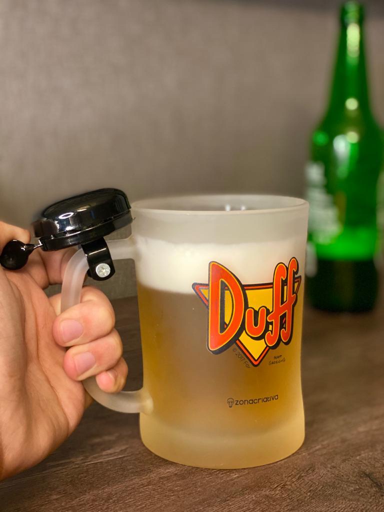Caneca de Chopp Duff Com Campainha (Preta): Os Simpsons - 650ml