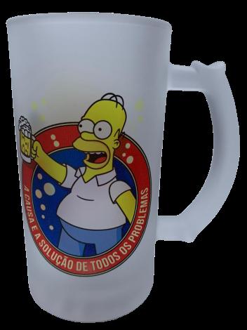"""Caneca de Chopp Homer Simpson """"A Causa e a Solução de Todos Os Problemas"""": Os Simpsons - 475ml"""