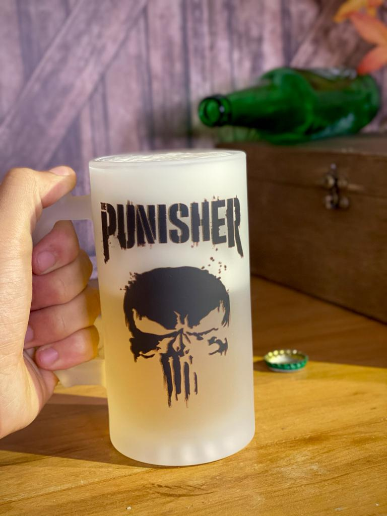 Caneca de Chopp Justiceiro (The Punisher): Marvel - (450ML)