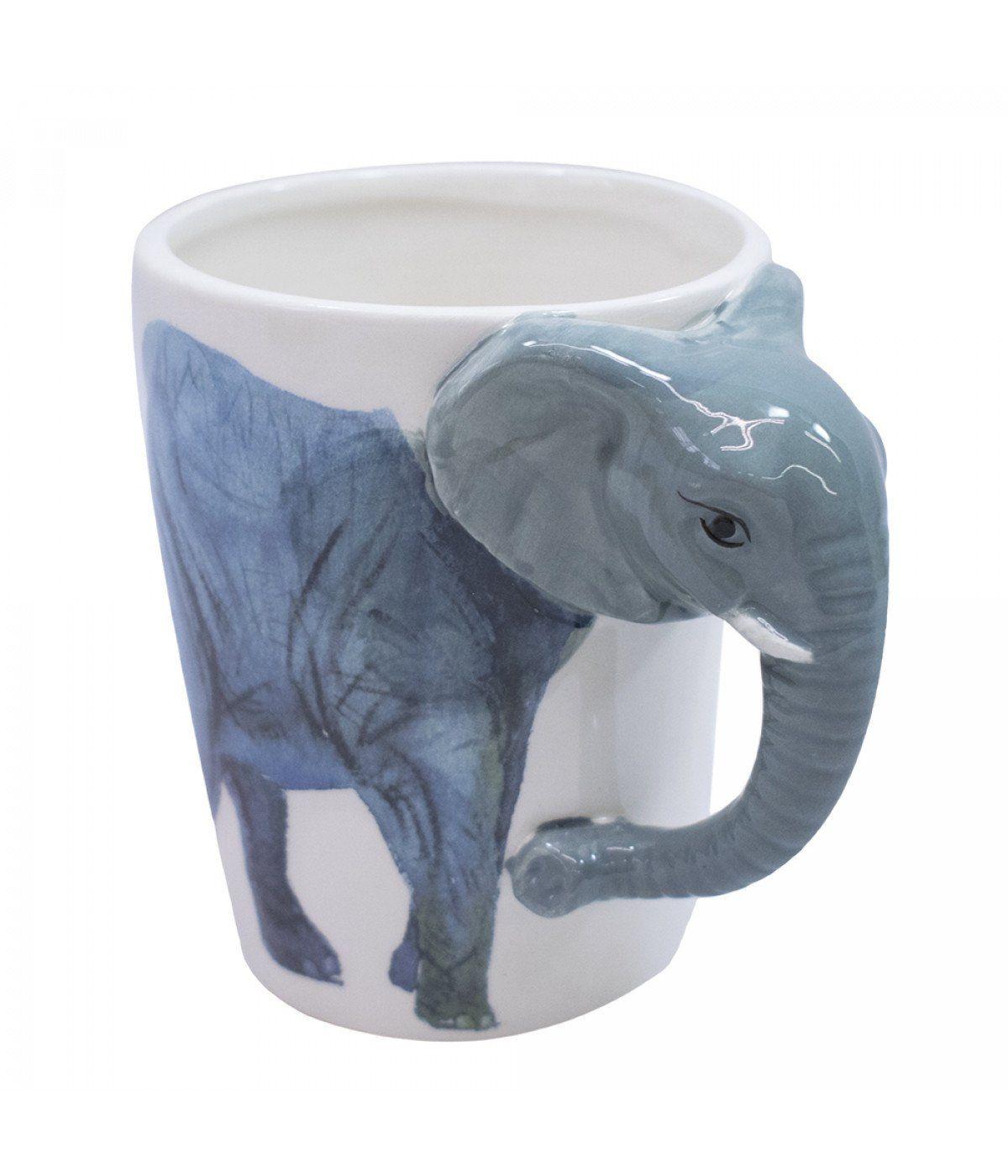 Caneca De Porcelana Alça Elefante (320ml)
