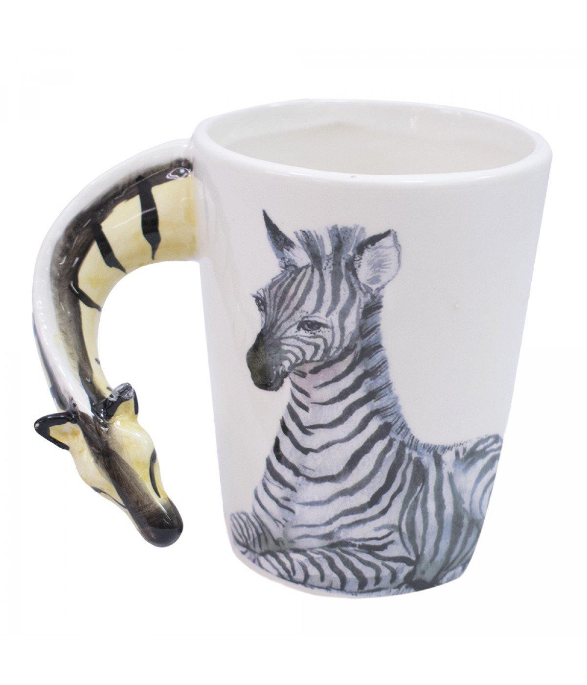Caneca De Porcelana Alça Zebra (320ml)