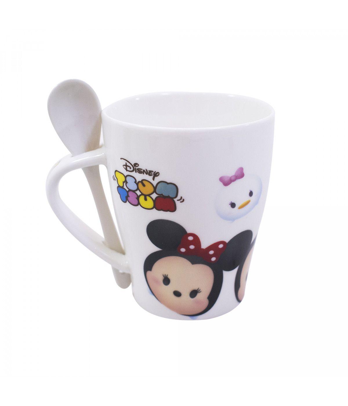 Caneca De Porcelana Com Colher Mickey & Minnie Tsum Tsum 310ml - Disney