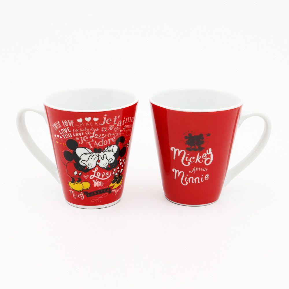 """Caneca de Porcelana Mickey Mouse & Minnie Mouse """"Love You Forever"""": Disney"""