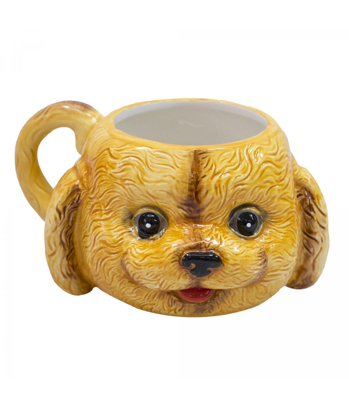 Caneca De Porcelana Rosto Cachorro Poodle (470ml)