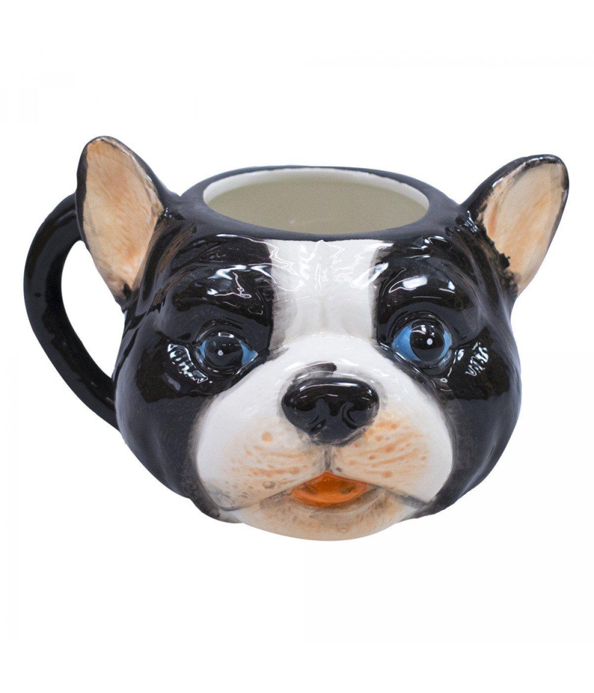 Caneca De Porcelana Rosto Cachorro Pug Francês (470ml)