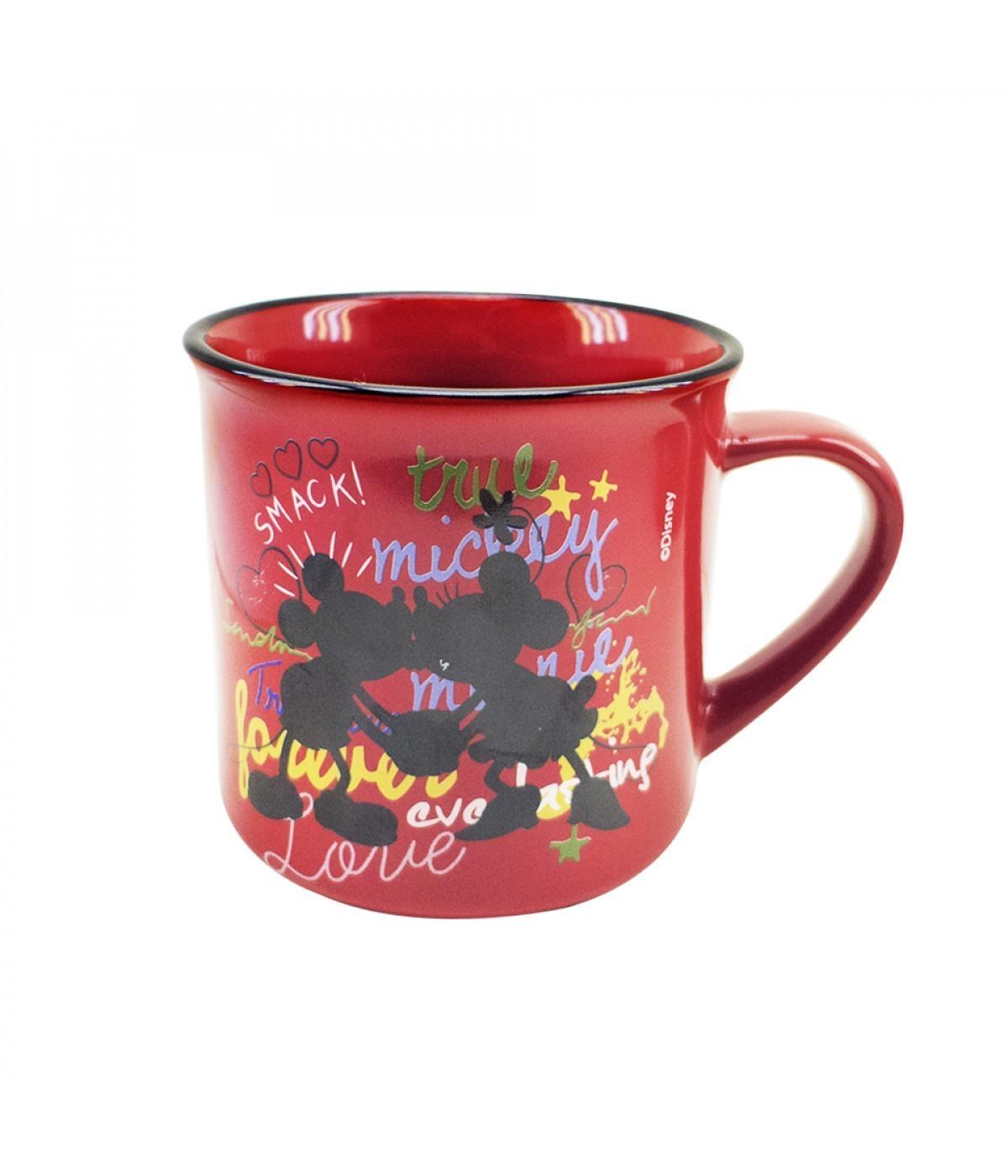 Caneca De Porcelana Vermelha Mickey & Minnie (280 ml) - Disney