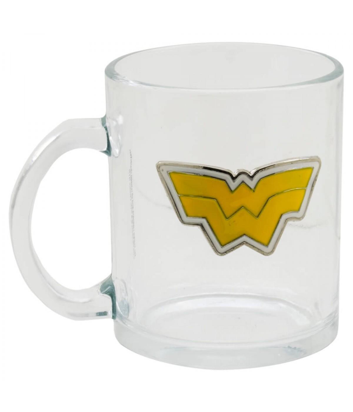 Caneca De Vidro Brasão Mulher Maravilha Wonder Woman: Liga Da Justiça Super Amigos Super Friends (370ml)