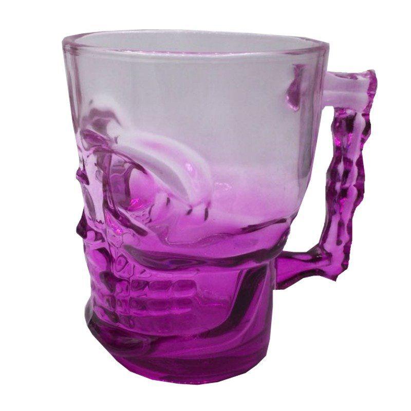 Caneca de Vidro Caveira 500 ml (Rosa)