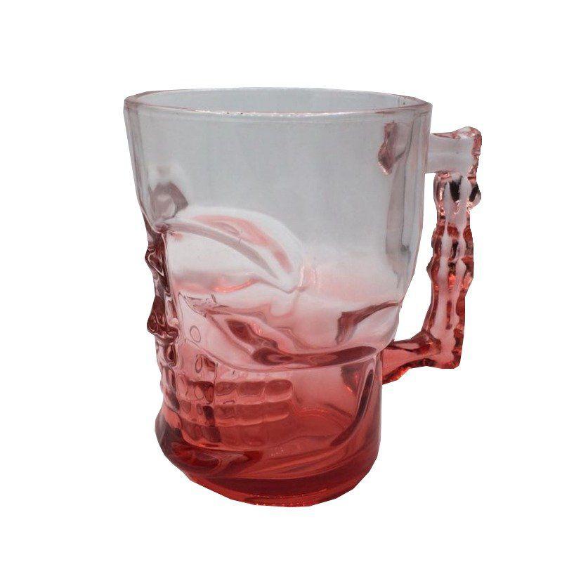 Caneca de Vidro Caveira 500 ml (Vermelho)