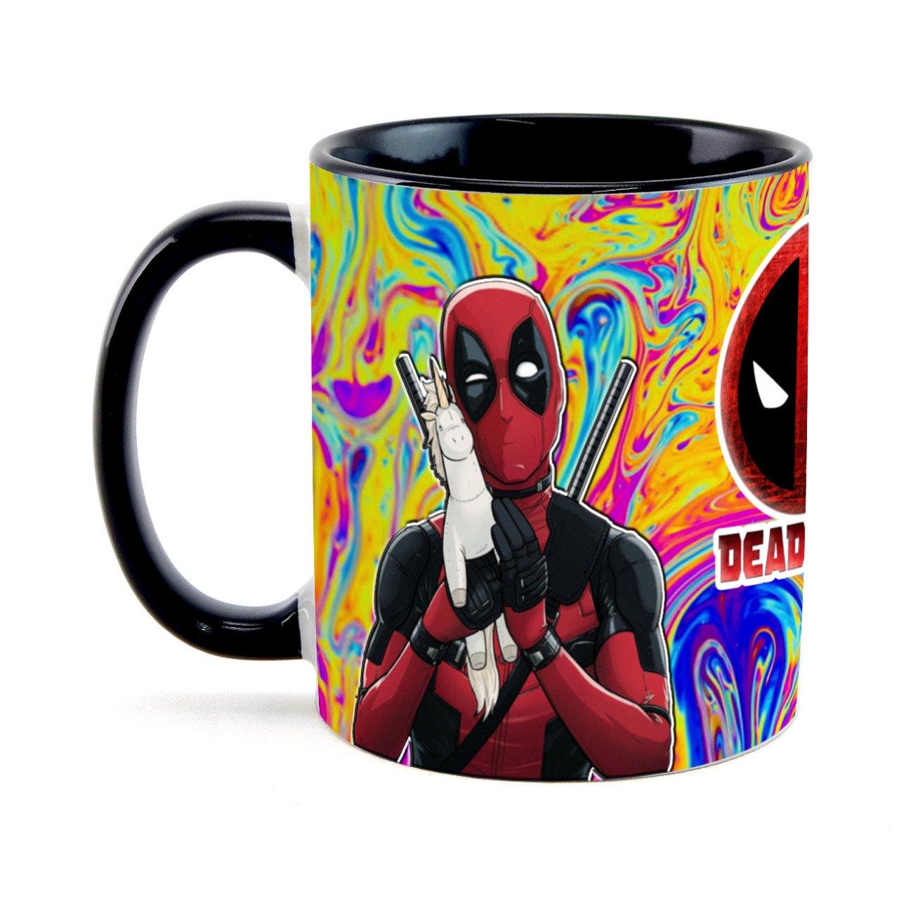 Caneca Deadpool Color Preta - EV