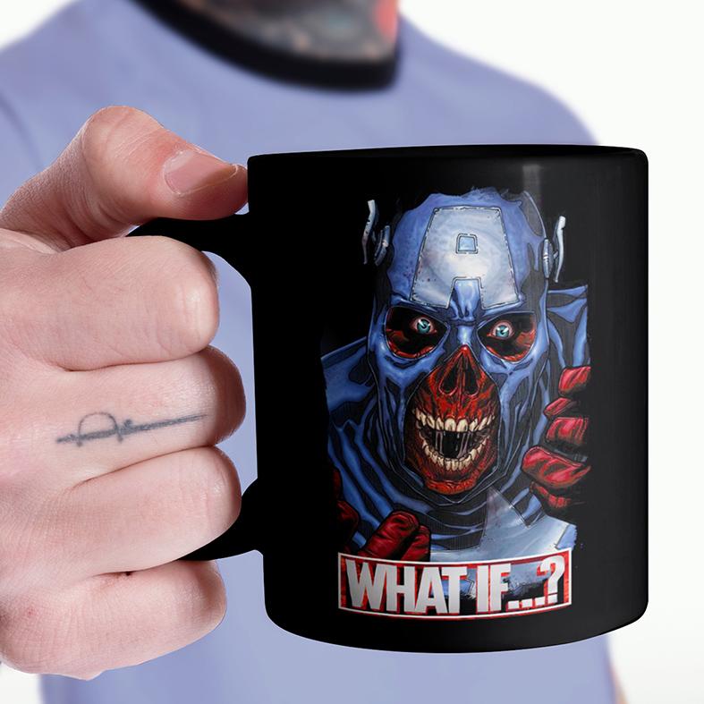 Caneca E Se...? Capitão América Caveira Vermelha Captain America Red Skull What If...? Marvel Studios Disney+ (Preta) - EV