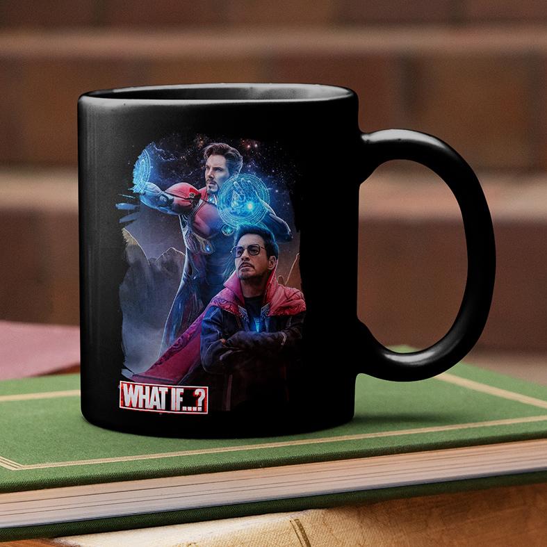 Caneca E Se...? Homem De Ferro Doutor Estranho Iron Man Doctor Strange What If...? Marvel Studios Disney+ (Preta) - EV