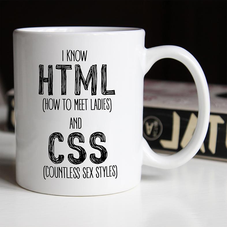 Caneca Eu Sei HTML Como Conhecer Mulheres De Incontáveis Estilos Sexuais Com CSS (Branca) - EV
