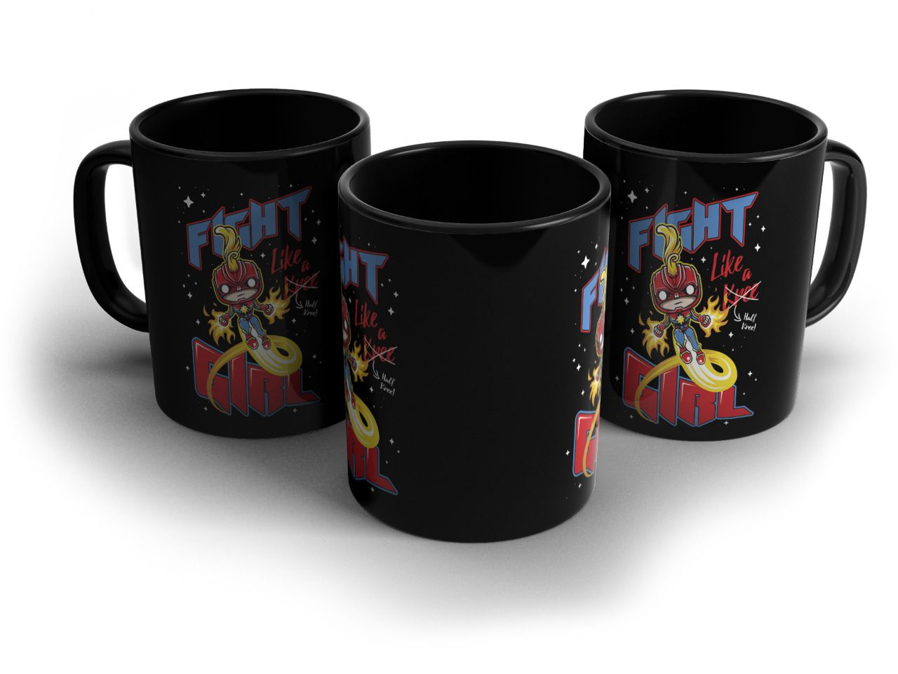 Caneca Fight Like a Girl: Capitã Marvel (Captain Marvel) - Exclusiva Toyshow