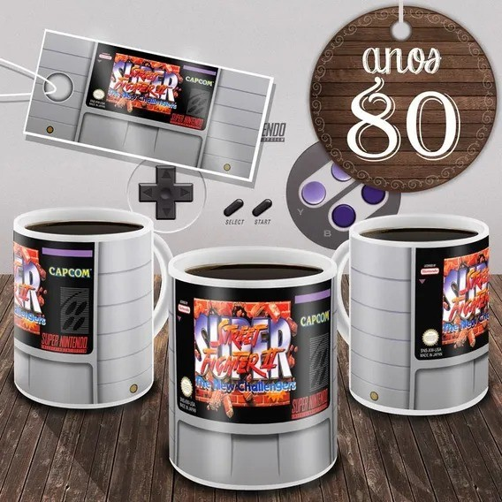 Caneca Fita Nintendo Super Street Fighter 2 ''The New Challengers''  (Branca)