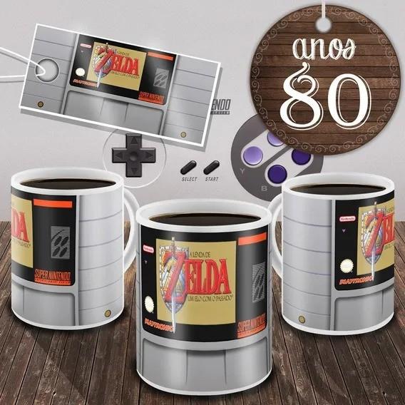 Caneca Fita Nintendo The Legend Of Zelda - A Link To The Past ''A Lenda De Zelda - Um Elo Com O Passado''  (Branca)