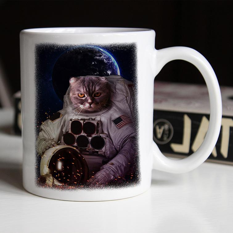 Caneca Gato Astronauta: Nasa Espaço (Branca) - EV