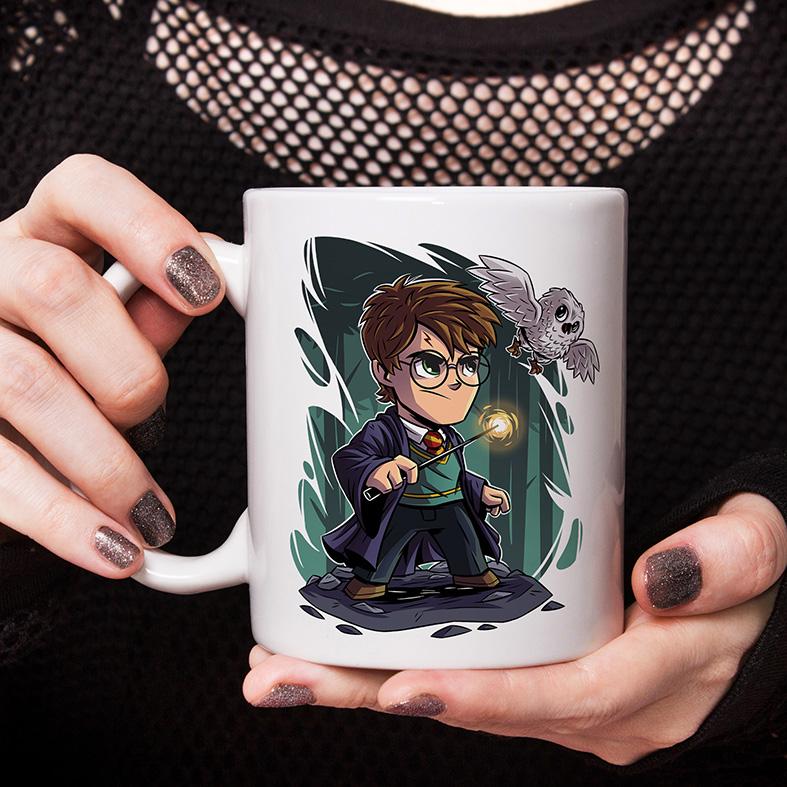 Caneca Harry Potter Varinha Coruja Hedwig Edwiges Animação Cartoon (Branca) - EV